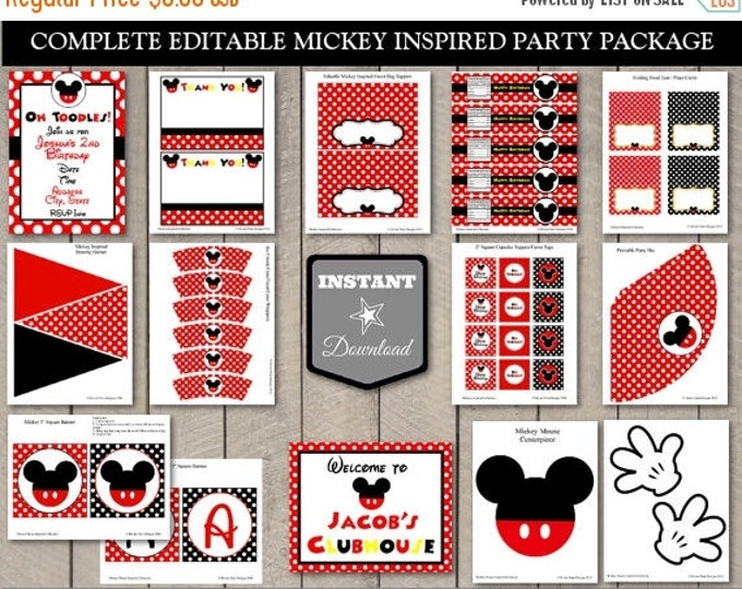SALE INSTANT DOWNLOAD Mouse Editable Birthday Party Package / Printable Diy / Mouse Classic Collection / Item #1500