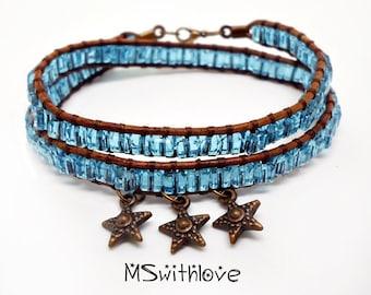 Blue Wrap Bracelet, Wrap Bracelet, Beaded Wrap Bracelet, Leather Wrap Bracelet, Beaded Leather Wrap Bracelet, Stars Bracelet