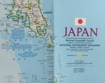 Vintage Japan Poster Etsy - Japan map poster
