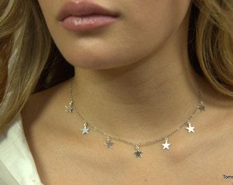 Star dangling choker, Dainty dangling necklace, layering necklace, dangling choker, Delicate Layering Necklace, minimal drop choker necklace