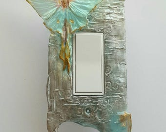 Luna Moth Rocker, Dimmer, Paddle switch, GFCI rectangle outlet Switchplate switch cover.  Silver birch bark and pale green .