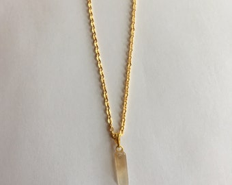 Dainty Citrine Quartz Point Crystal Gold Necklace