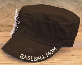 Baseball mom cadet hat or baseball cap with rhinestone personalization