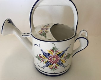 Vintage hand painted pottery Watering Can Vase  from Portugal blue and multi colored floral design