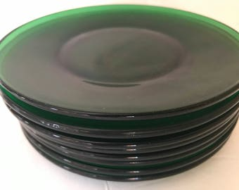Vintage (8)  Emerald Forest green patternDesert  Plates by Anchor Hocking-Great Condition- 1950's