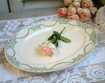 Antique french green transferware oval serving platter. Spring green light green. Empire style. Jeanne d'Arc living. Nordic living decor