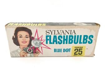 Vintage Flashbulbs Sylvania Blue Dot Original Bulb Box Set of 9 Camera Accessories Round Flash Bulbs