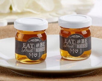 24+ Eat, Drink & Be Married Honey Favors, Personalized Honey Jars, Honey Wedding Favors, Clover Honey Party Favors (19018NA-ED)