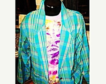 SALE Teal Turquoise Plaid Vintage Blazer By Adolfo Royalty Collection