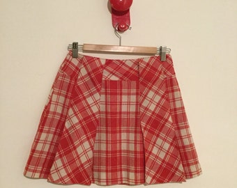 Vintage 70s red tartan plaid miniskirt
