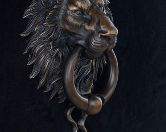 Classical Bronze Patina Finish Lion Head Door Knocker with Ball Ring. Curb Appeal. Architectural details, accents