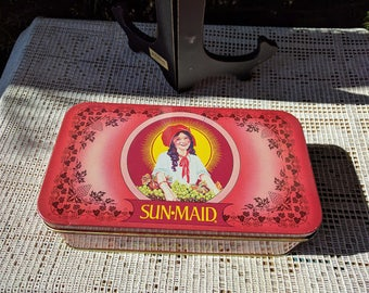 """Sun Maid raisins tin canister 1990 red with grapevine design 8"""" x 4.25"""" x 2.25"""" Sun-maid Growers of California"""