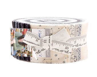 """Moda Fabrics Snowman Gatherings III by Primitive Gatherings Jelly Roll 2.5"""" PreCut Quilting Cotton Strips Fabric Strips - Christmas"""