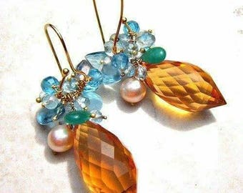 Aigne Earrings from Sandra Eileen Designs Luxe Citrine and Blue Topaz with Cultured Pearls and Emeralds