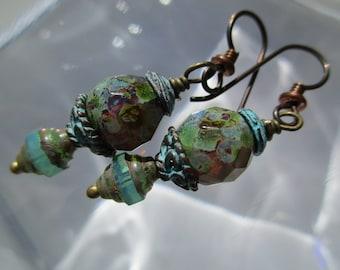Earthy Turquoise BOHO Gypsy Earrings Organic Funky Czech Glass Earrings Feminine Bohemian Hippie Earrings Hypoallergenic Niobium Ear Wires