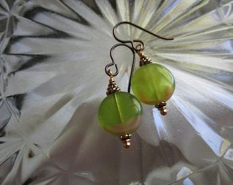 Pretty Little Green Czech Glass Coin Earrings Pressed Window Glass Short and Feminine Earrings Secure Hypoallergenic Niobium French Hooks