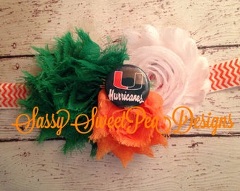 Miami Hurricanes inspired Shabby Flower Headband.... Newborn, Baby, Girls Photo Prop Bow