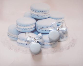 earrings blue macarons polymer clay