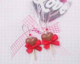 earrings lollipop chocolate polymer clay