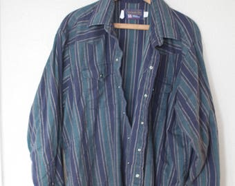 vintage wrangler 1970's flannel western cut green stripe silver pearl snap button up shirt *