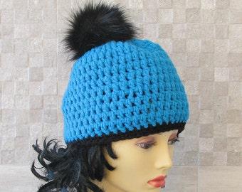 Crochet hat  Pom Pom Beanire Womens Pom Pom Hat Women Gift  Winter Hat  Pom Pom Beanie /Pom Pom Hat