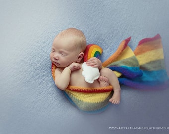 Newborn mohair wrap, blanket ,rainbow blanket , Baby photo prop,