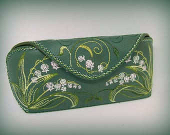 "Leather Glasses Case  Sunglasses Holder Cover ""Lily of the valley"""
