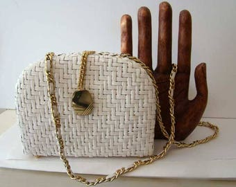 Elizabeth Arden white wicker purse, vintage Elizabeth Arden handbag, white straw purse