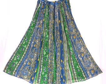 Vintage Indian Cotton Gauze Maxi Skirt. Green Blue Gray Yellow Hand Printed Semi Sheer Cotton. Free Size, One Size. Fits S M L XL 1X 2X 3X