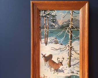 PBN Vintage Paint By Number Deer in Snow by Lake