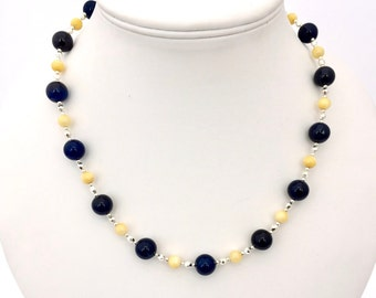 Navy Blue & Yellow Beaded Agate Gemstone Necklace, Yellow Shell Jewellery, Statement Jewelry, Semi Precious Natural Stone, Blue Agate Stone