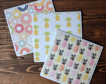 Pineapples and Donuts - Set of 6 or 12 Blank Cards, set of cards, square cards, gift set, envelopes included