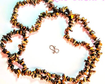 Long Necklace with Tiger eye chips