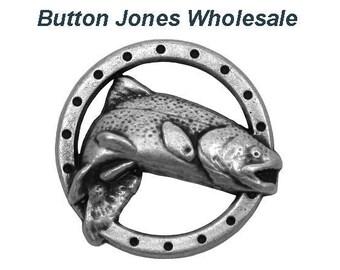 50 pcs. Trout Fish 5/8 inch ( 17 mm ) Metal Buttons Antique Silver Color