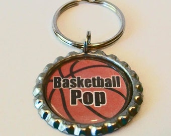 Unique Basketball Pop Grandfather Metal Flattened Bottlecap Keychain Great Gift
