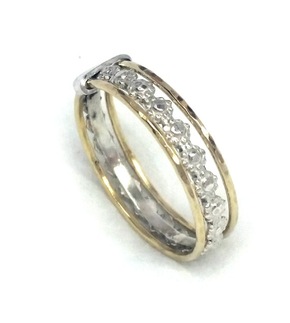 silver and gold stacking wedding ring for silver flower