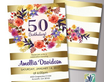 Gold and Purple Birthday Invitation. 50th Birthday Party invitation. Floral invitation. Printable Digital DIY Card