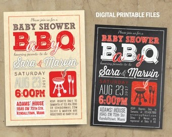 BabyQ Baby Shower, BBQ Baby Shower Invitation, Baby-Q, Baby Shower BBQ, Printable DIY