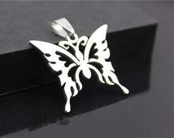 2pcs 33x28mm Vintage Style Stainless Steel Butterfly Charms Pendants