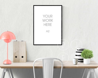poster frame mockup, A2, large frame mockup, thin black frame, empty frame, styled stock photography, desk mockup, digital wall frame