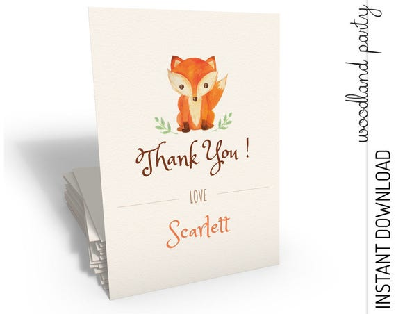 Woodland Thank You Card INSTANT DOWNLOAD