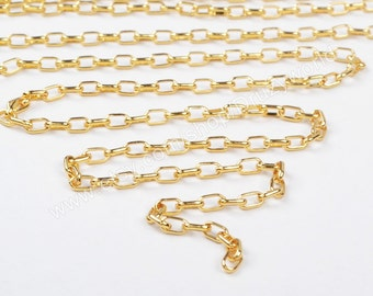 Wholesale 5 Metres Lead Nickel Free Yellow Gold Plated Brass Chain Findings Soldered Electroplated Cable Chains For Jewelry Making PJ038-G