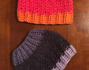 Chloe Bella Ponytail Hat Crochet Pattern --- Messy Bun Hat