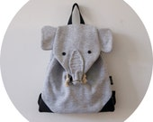Kids backpack / / grey elephant / / Upcycling / / unique / / bags / / gym bags / / sports bags