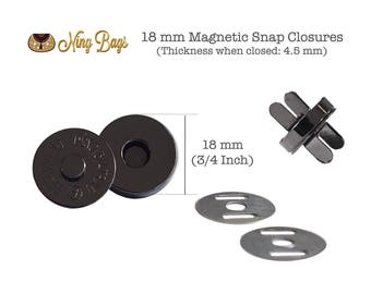 Set of 20 // 18 mm Magnetic Snap Closures (High Quality), Bag Closures, Magnetic Purse Snaps for Handbags in Beautiful Gunmetal Finish