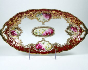 Antique Noritake Oval Bowl Hand Painted Roses Heavy Gold w/ Bead Moriage 1906