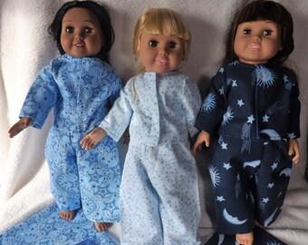 "18"" Doll PJ  sleepwear set with matching blanket, blue stars, Fits most 18"" dolls including American Girl Dolls"