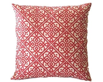 Pillow Cover, Red and White, Throw Pillow Cover, Geometric Design, 20 x 20 Inches