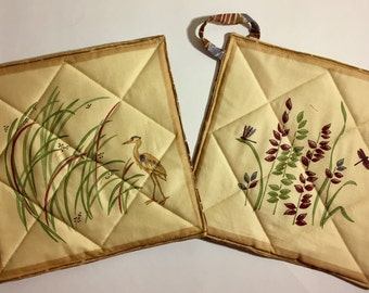 Loon & Dragonfly Pot Holder Duo