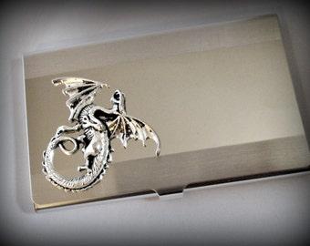 Dragon business card holder-credit card holder-fantacy dragon stainless steel card holder-gothic card holder-steampunk card holder